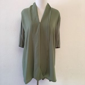 H by Halston Large Green Tunic Blouse 3/4 Sleeve